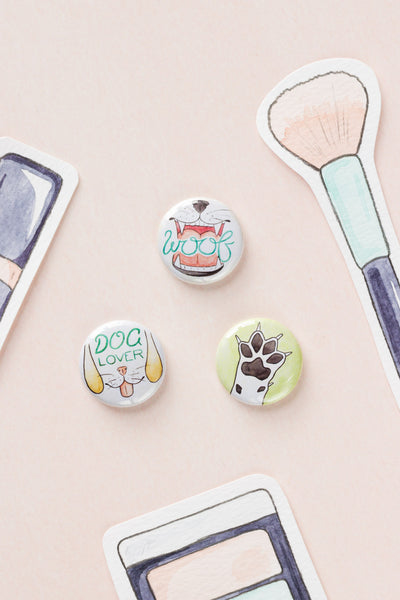 Dog Lover Pin-Back Button Badges - A Rose Cast