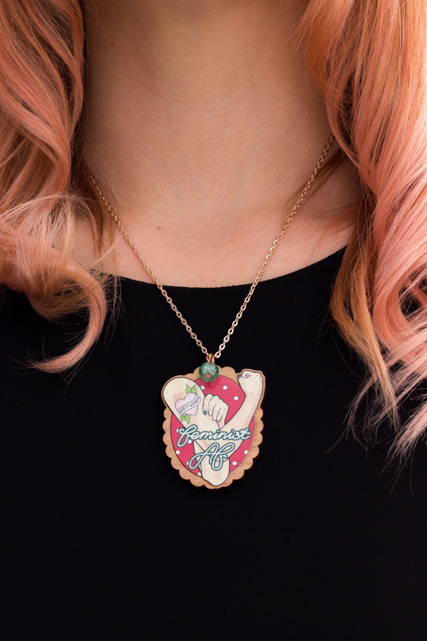 Feminist AF Rose Gold Necklace & Wooden Brooch