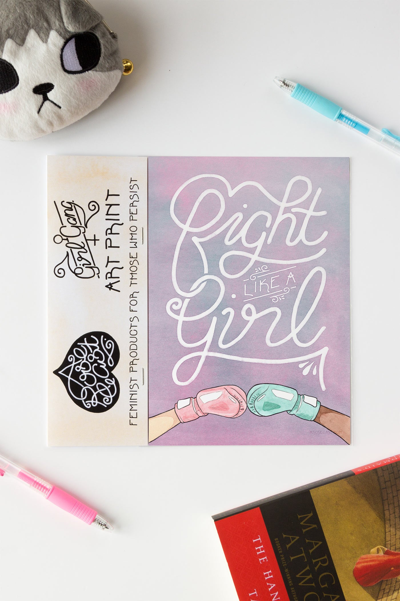 Fight Like a Girl Feminist Illustrated Art Print - A Rose Cast