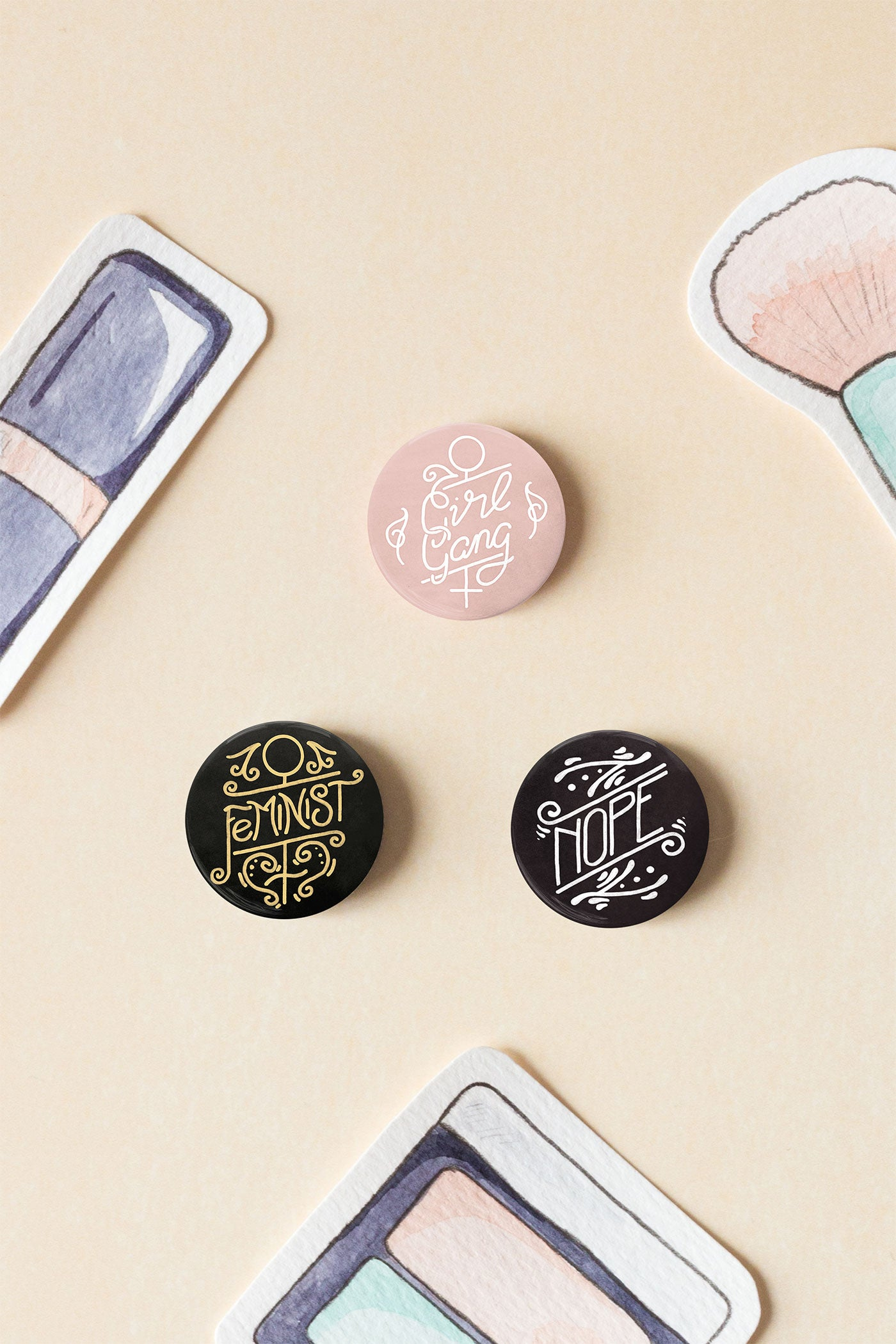 Girl Gang / Feminist Pin-Back Button Badges - A Rose Cast