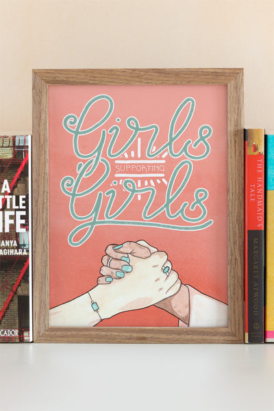 Girls Supporting Girls Feminist Illustrated Art Print - A Rose Cast