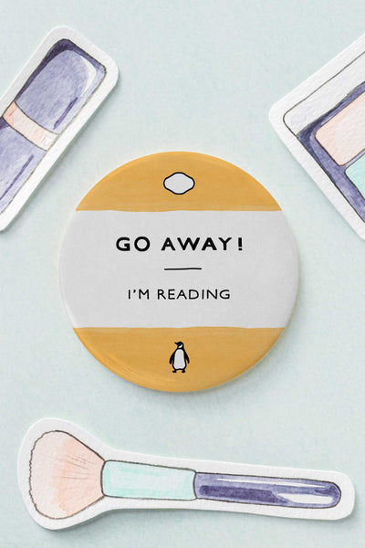 Go Away! I'm Reading Bibliophile / Book Lover Pocket Mirror