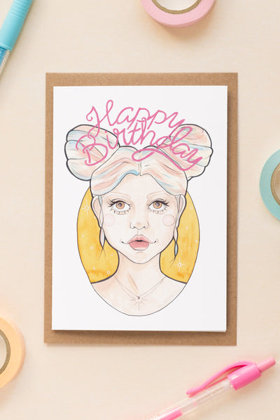 Pink and Blue Haired Clio Birthday / Celebration Card