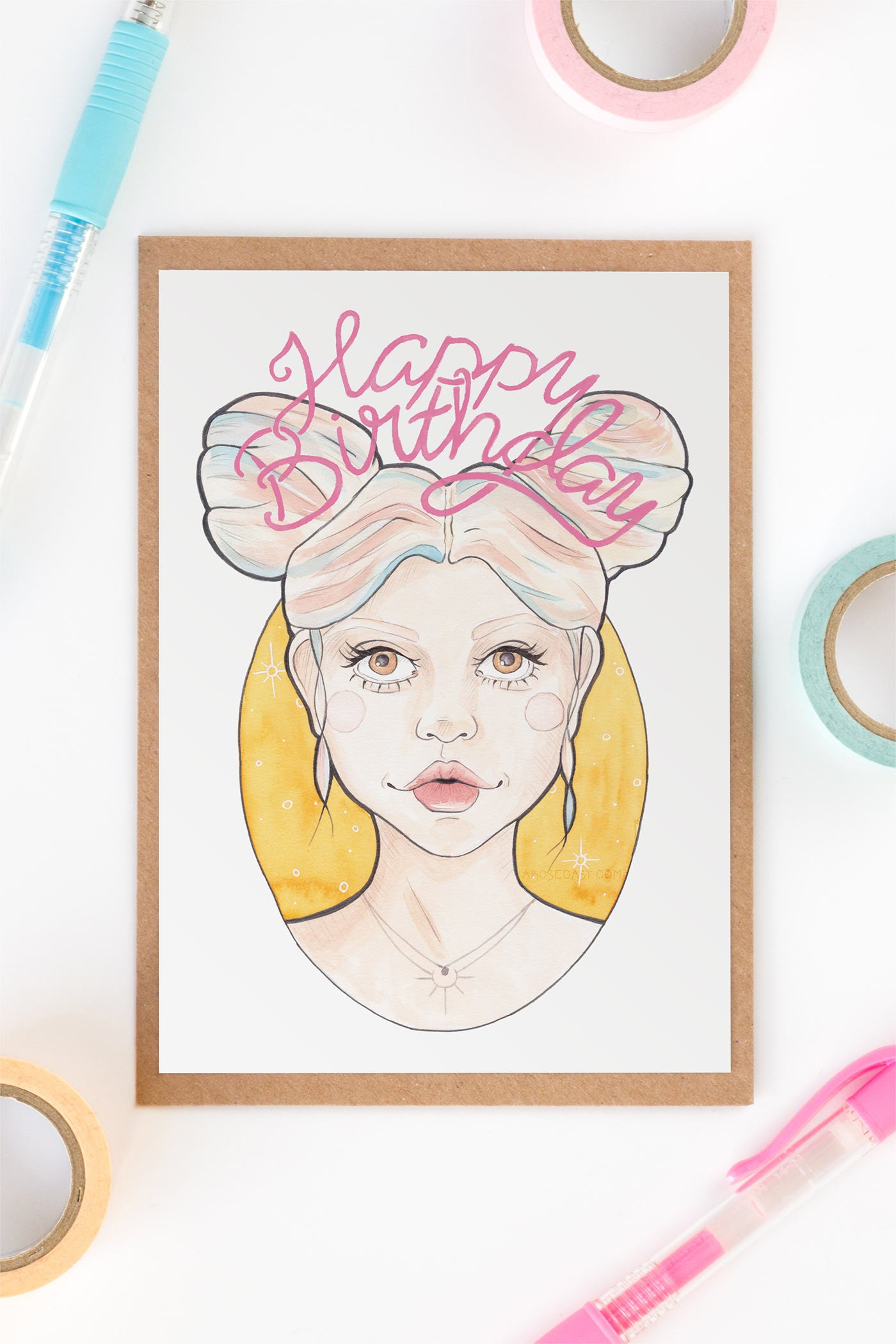 Pink & Blue Hair Party Girl Birthday / Friendship Card - A Rose Cast