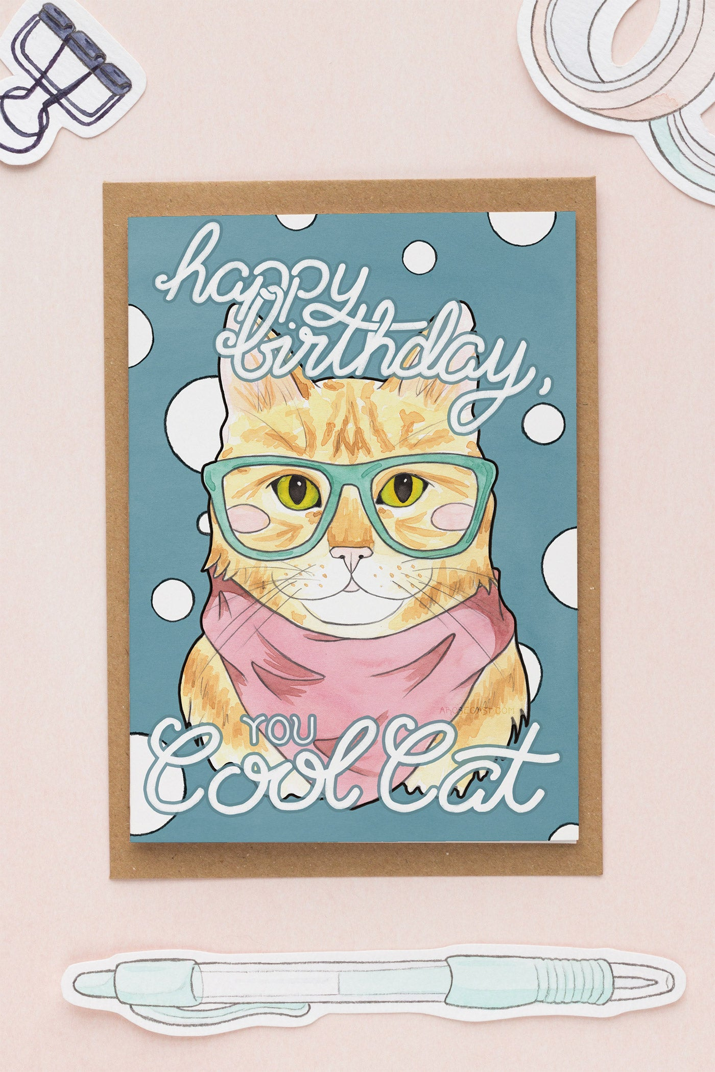 Happy Birthday, You Cool Cat Card - A Rose Cast