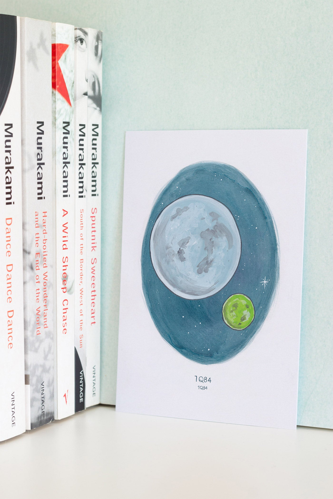 Haruki Murakami's 1Q84 A6 Watercolour Novel Illustration