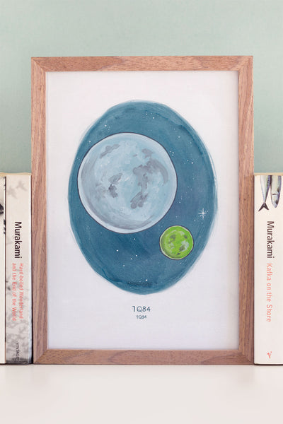 Haruki Murakami's 1Q84 A4 Watercolour Novel Illustration