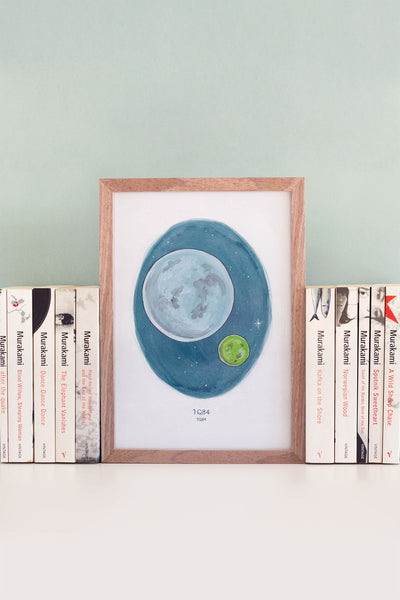 Haruki Murakami's 1Q84 Watercolour Novel Illustration, A6 Art Print