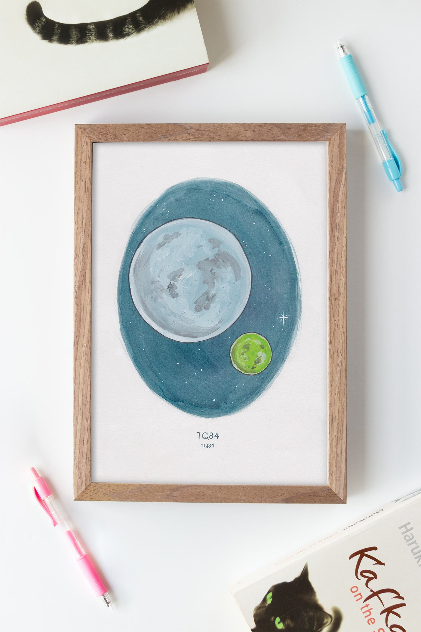 Haruki Murakami's 1Q84 Watercolour Novel Illustration