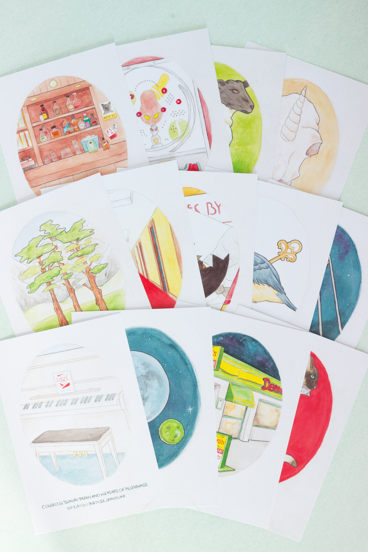 Haruki Murakami Novel Illustration Postcards
