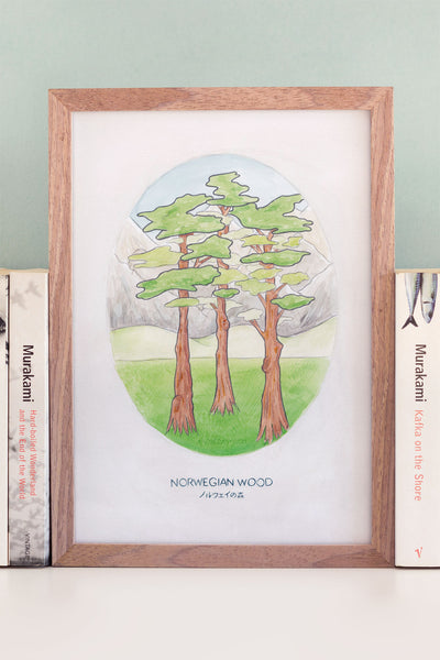 Haruki Murakami's Norwegian Wood A4 Watercolour Novel Illustration