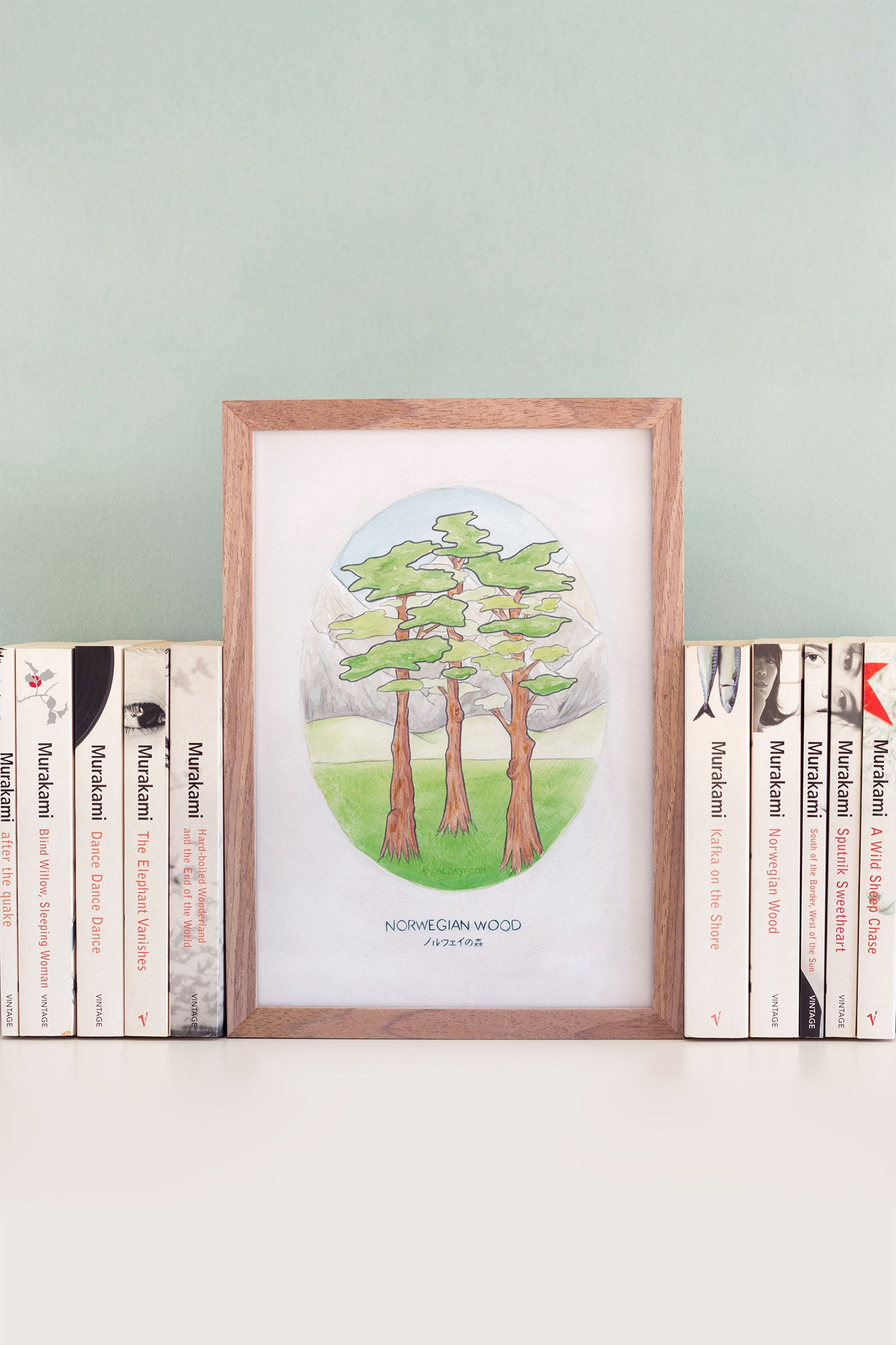 Haruki Murakami's Norwegian Wood Novel Illustration Art Print - A Rose Cast