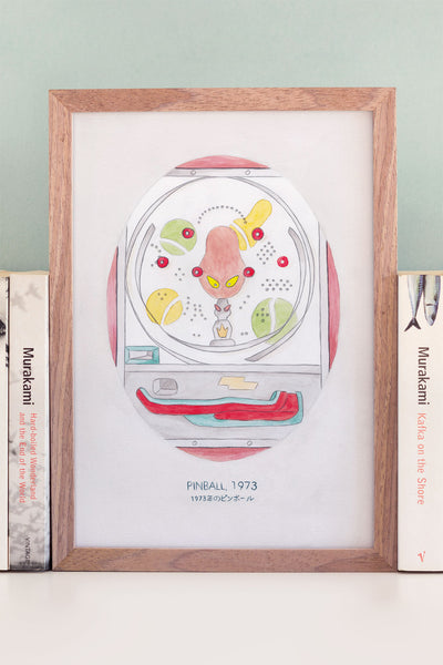 Haruki Murakami's Pinball, 1973 Novel Illustration Art Print - A Rose Cast