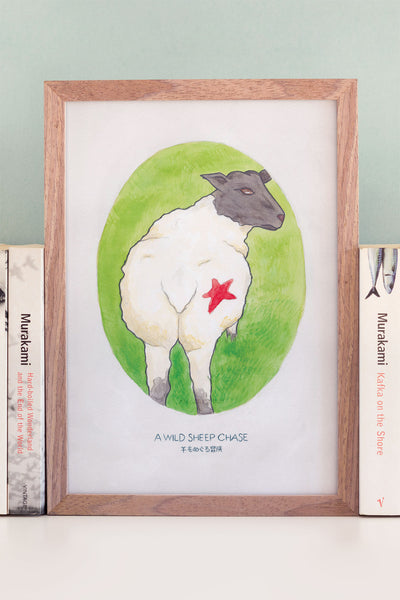 A6 Art Print of Haruki Murakami's A Wild Sheep Chase Watercolour Novel Illustration