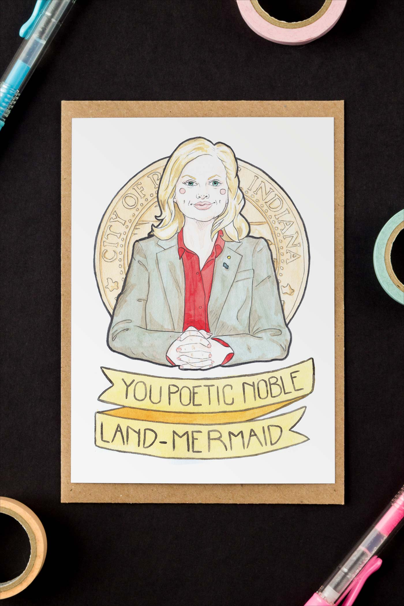 Leslie Knope / Parks & Rec Galentine's Day / Birthday / Friendship Greeting Card - A Rose Cast
