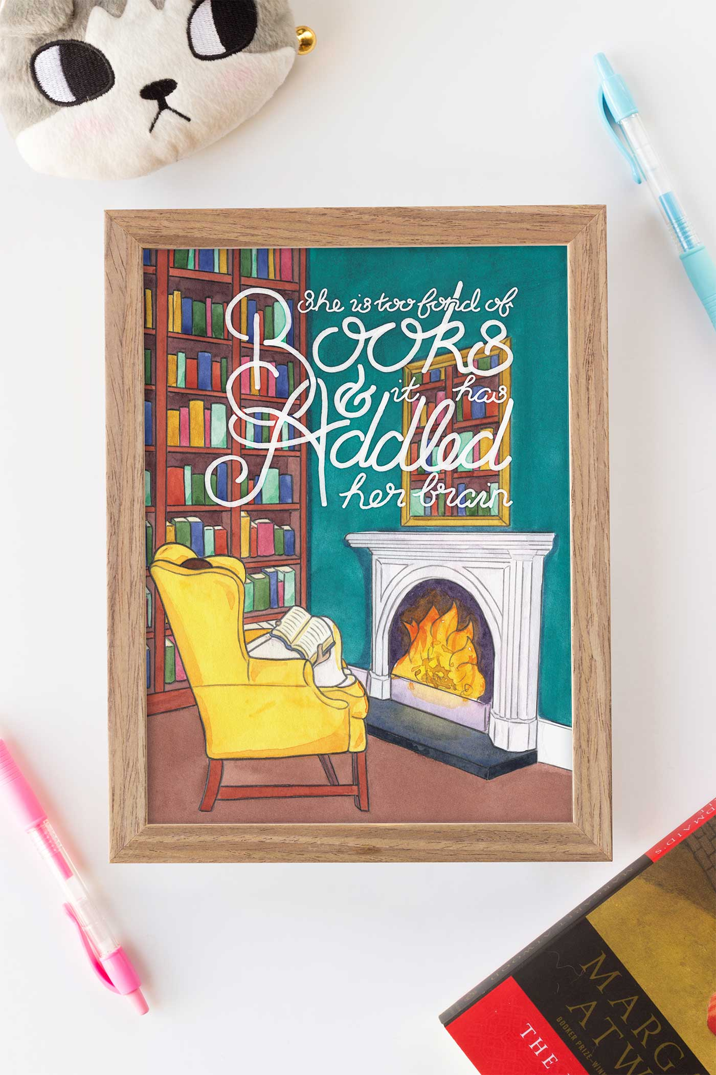 Louisa May Alcott Fond of Books Quote Art Print - A Rose Cast