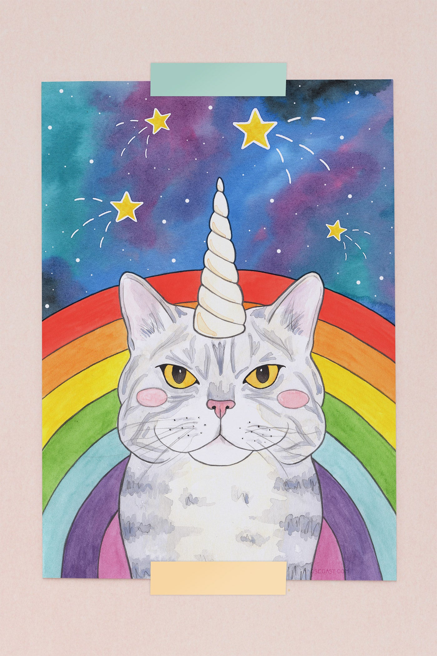 Magical Caticorn Cosmic Rainbow Illustrated Art Print