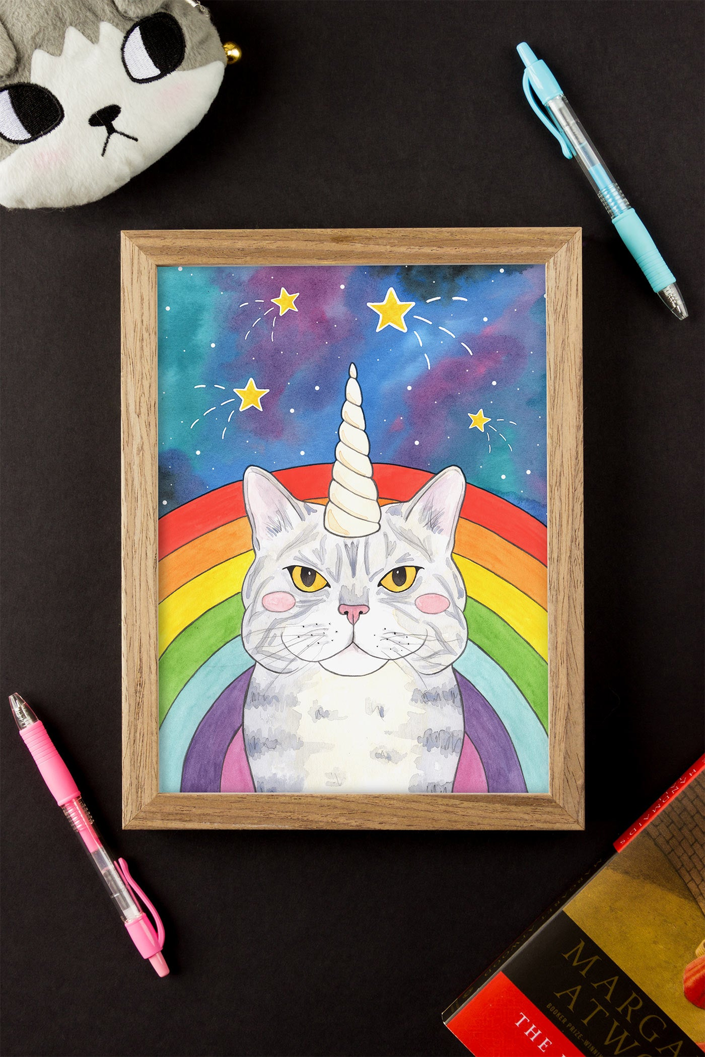 Magical Caticorn Cosmic Rainbow Illustrated Art Print - A Rose Cast