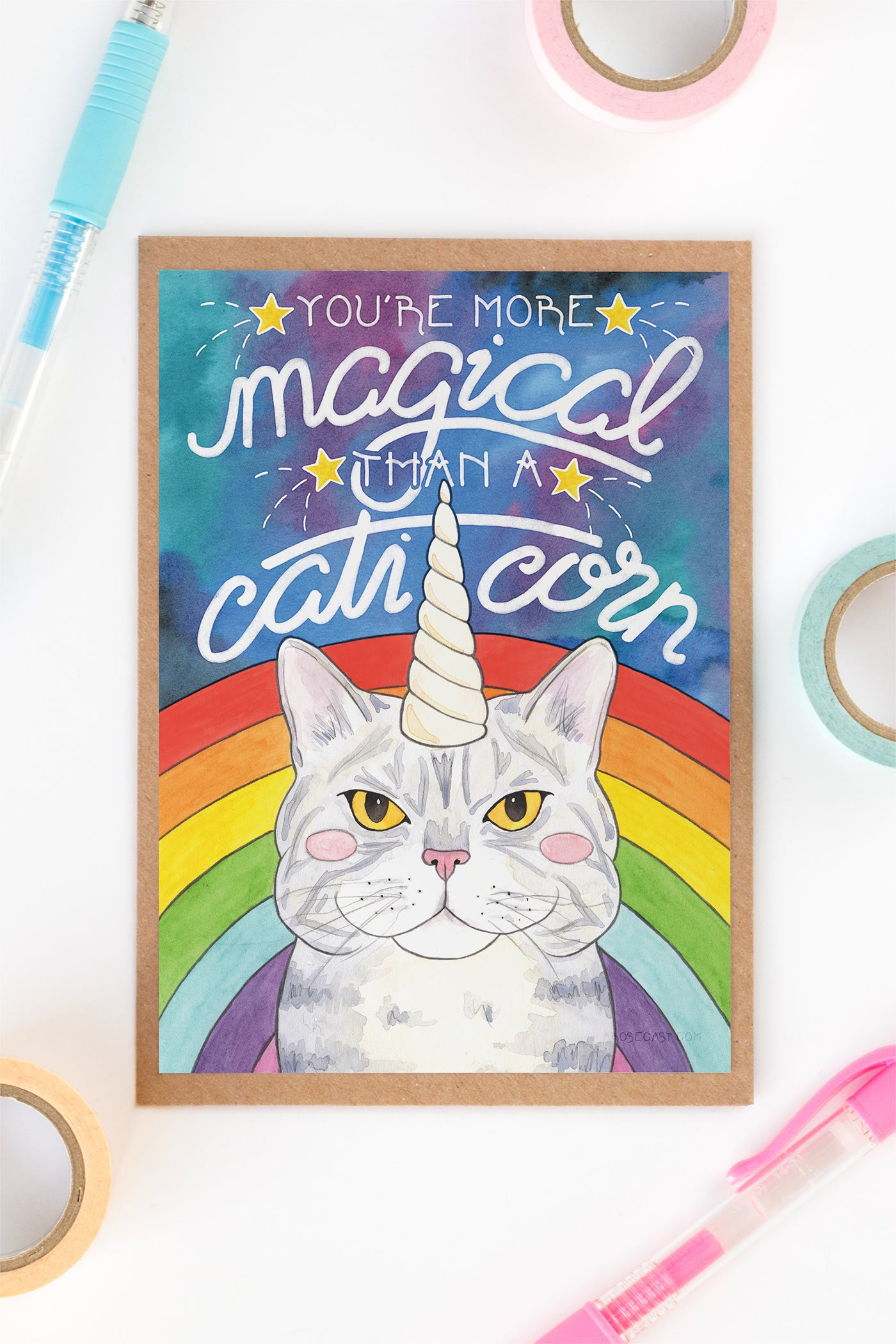 Magical Caticorn Cosmic Rainbow Birthday / Friendship Card - A Rose Cast