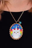 Magical Caticorn Rose Gold & Wood Pendant Necklace - A Rose Cast