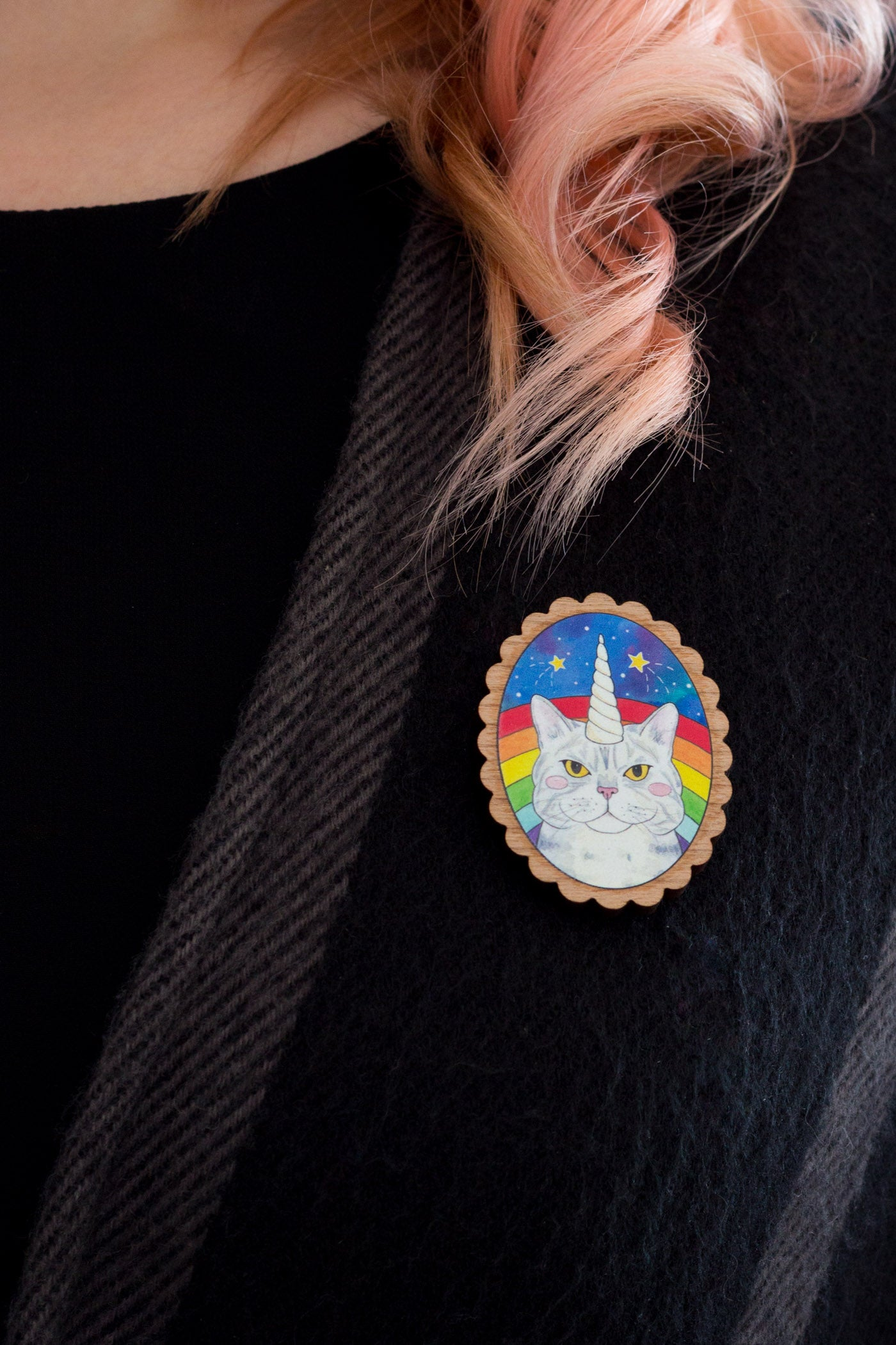 Magical Caticorn Cosmic Rainbow Wooden Brooch - A Rose Cast