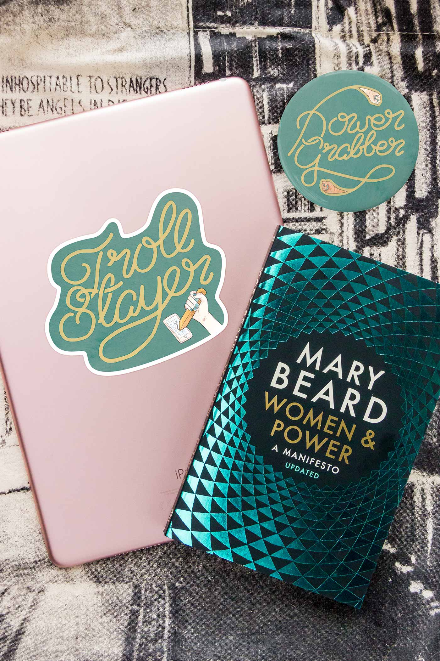 Mary Beard's Power & Women Book with Power Grabber Pocket Mirror & Troll Slayer Sticker