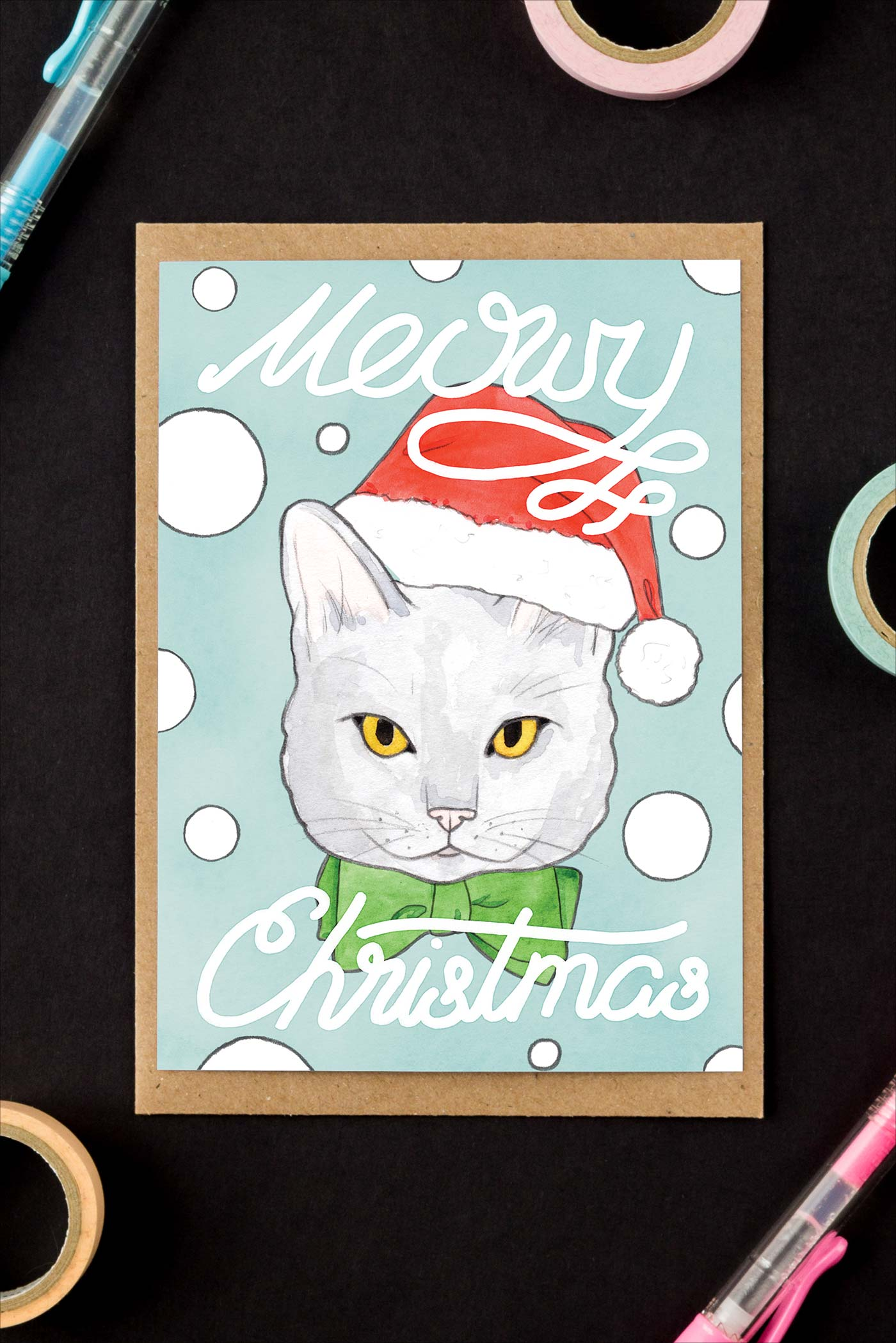 Meowy Christmas / Blue Cat Holiday Greeting Card