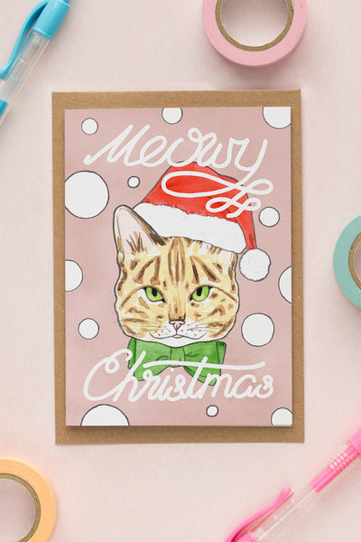 Meowy Christmas / Tabby Cat Holiday Greeting Card - A Rose Cast