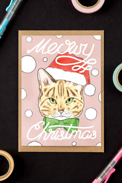 Meowy Christmas / Tabby Cat Holiday Greeting Card