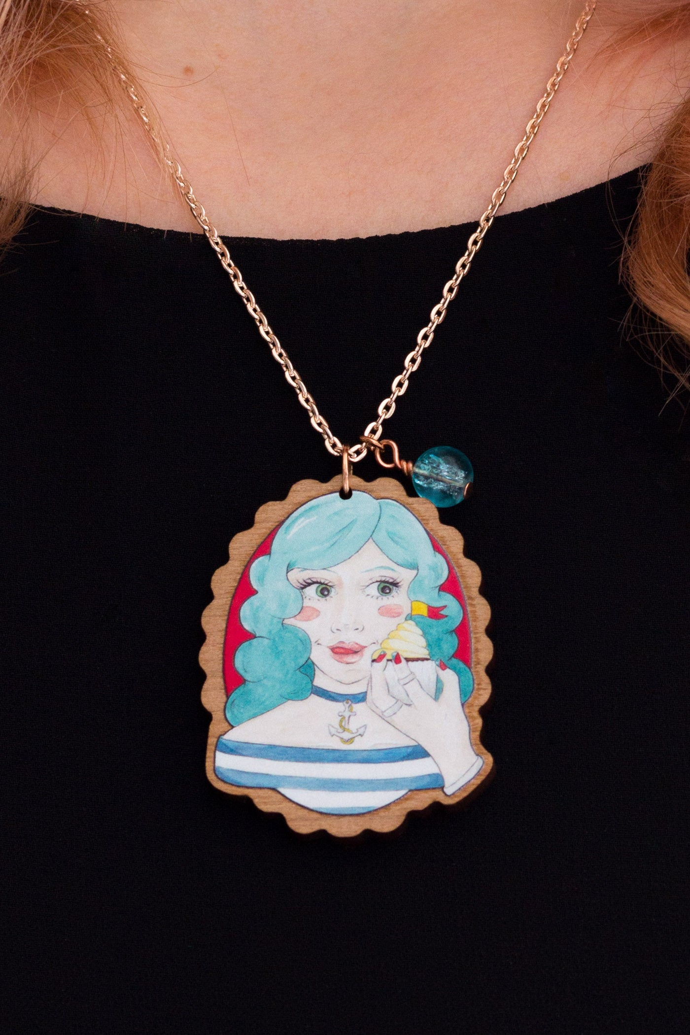 Blue-Haired Nautical Meredith with a Cupcake Rose Gold & Wood Pendant Necklace - A Rose Cast
