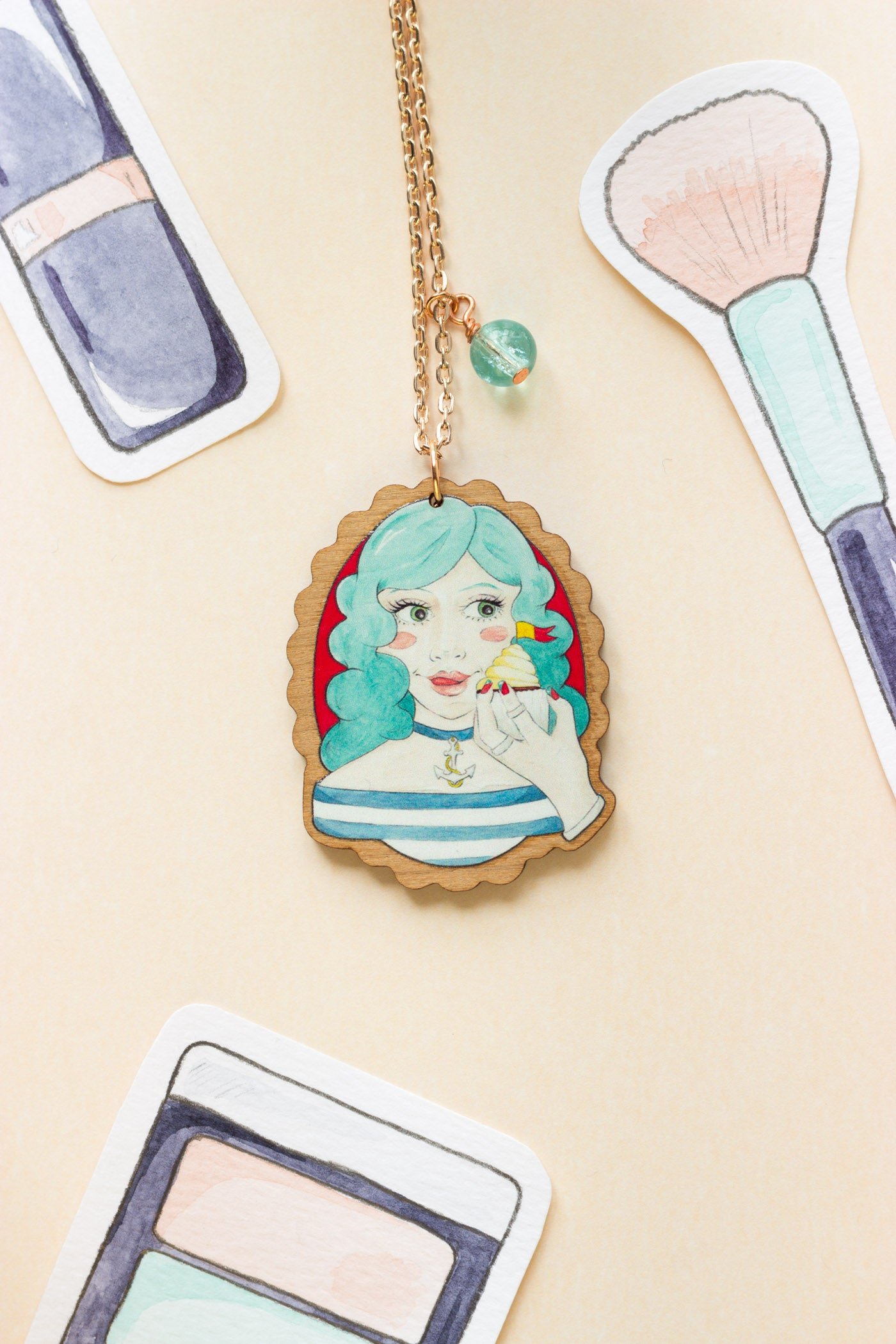 Blue-Haired Nautical Meredith with a Cupcake Rose Gold & Wood Pendant Necklace
