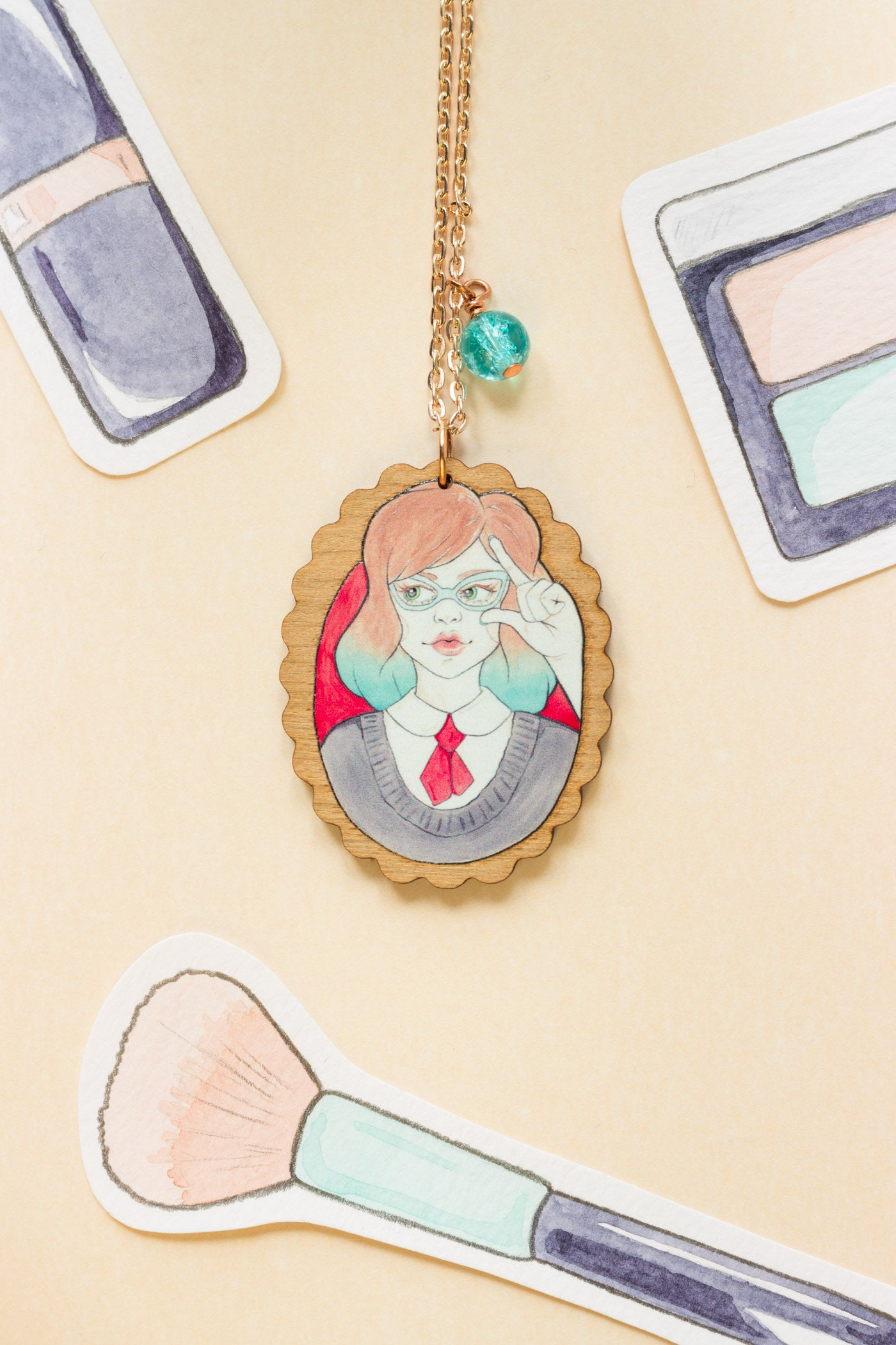 Nerdy Minerva in Vintage Glasses Rose Gold & Wood Pendant Necklace - A Rose Cast