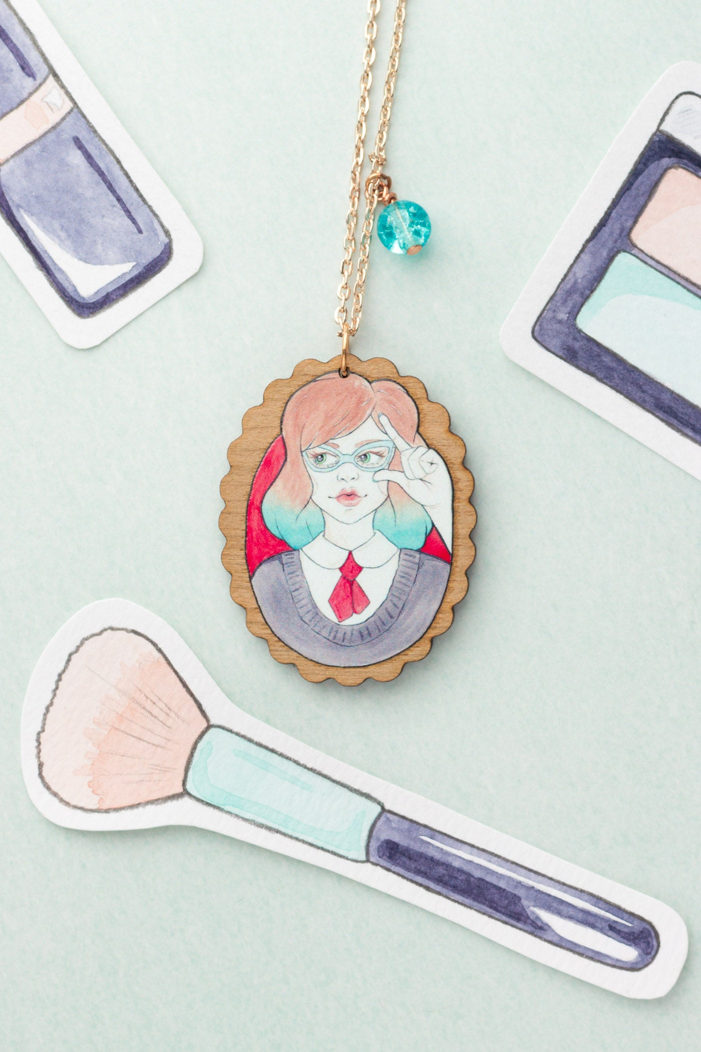 Nerdy Minerva in Vintage Glasses Rose Gold & Wood Pendant Necklace