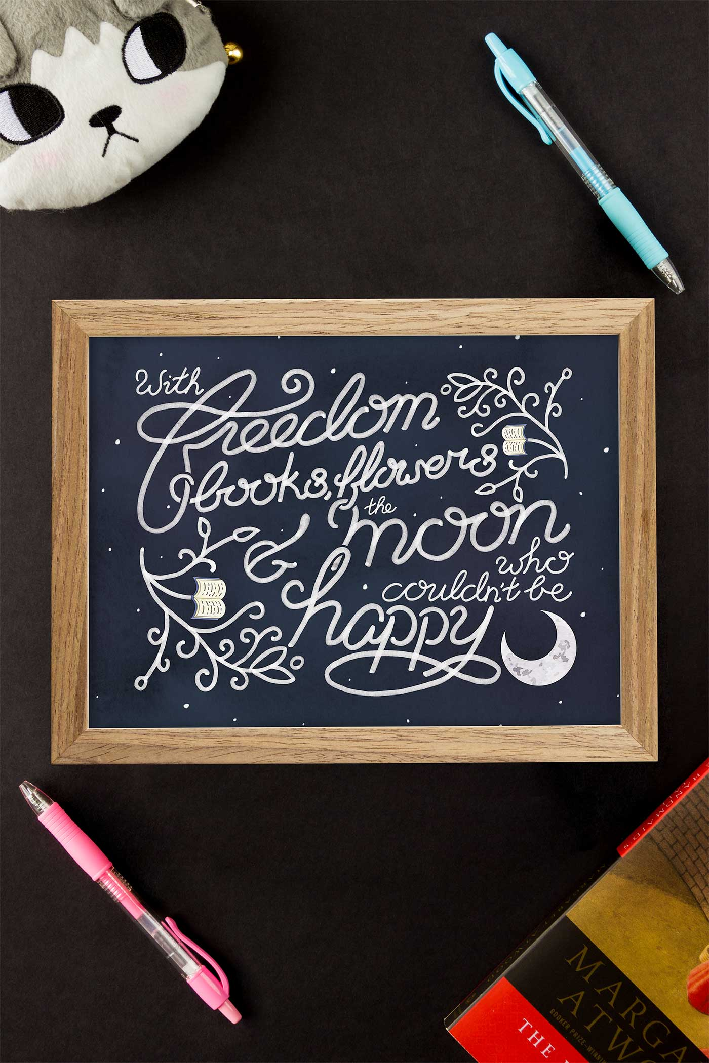 Oscar Wilde Freedom, Books, Flowers, and the Moon Quote Art Print - A Rose Cast