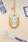 Pink and Blue Haired Clio Portrait Rose Gold & Wood Pendant Necklace - A Rose Cast