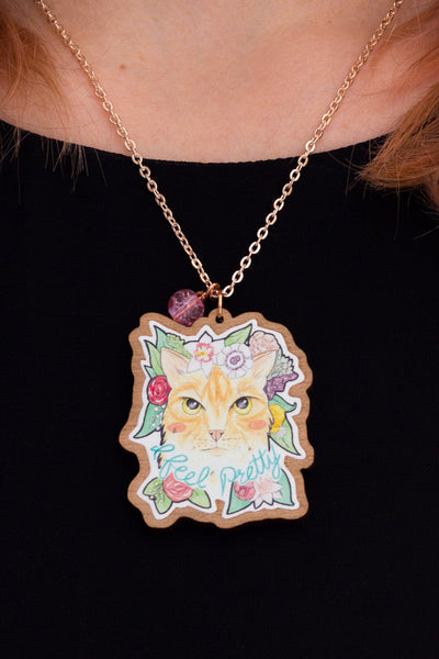 Illustration & Jewellery Project // I Feel Pretty | Wooden Brooch of a Ginger Cat with Flowers