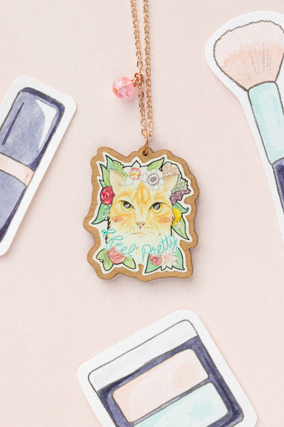 I Feel Pretty // Ginger Cat with Flowers Rose-Gold & Wood Pendant Necklace