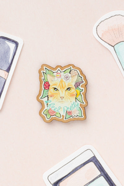 I Feel Pretty // Ginger Cat with Flowers Wooden Brooch