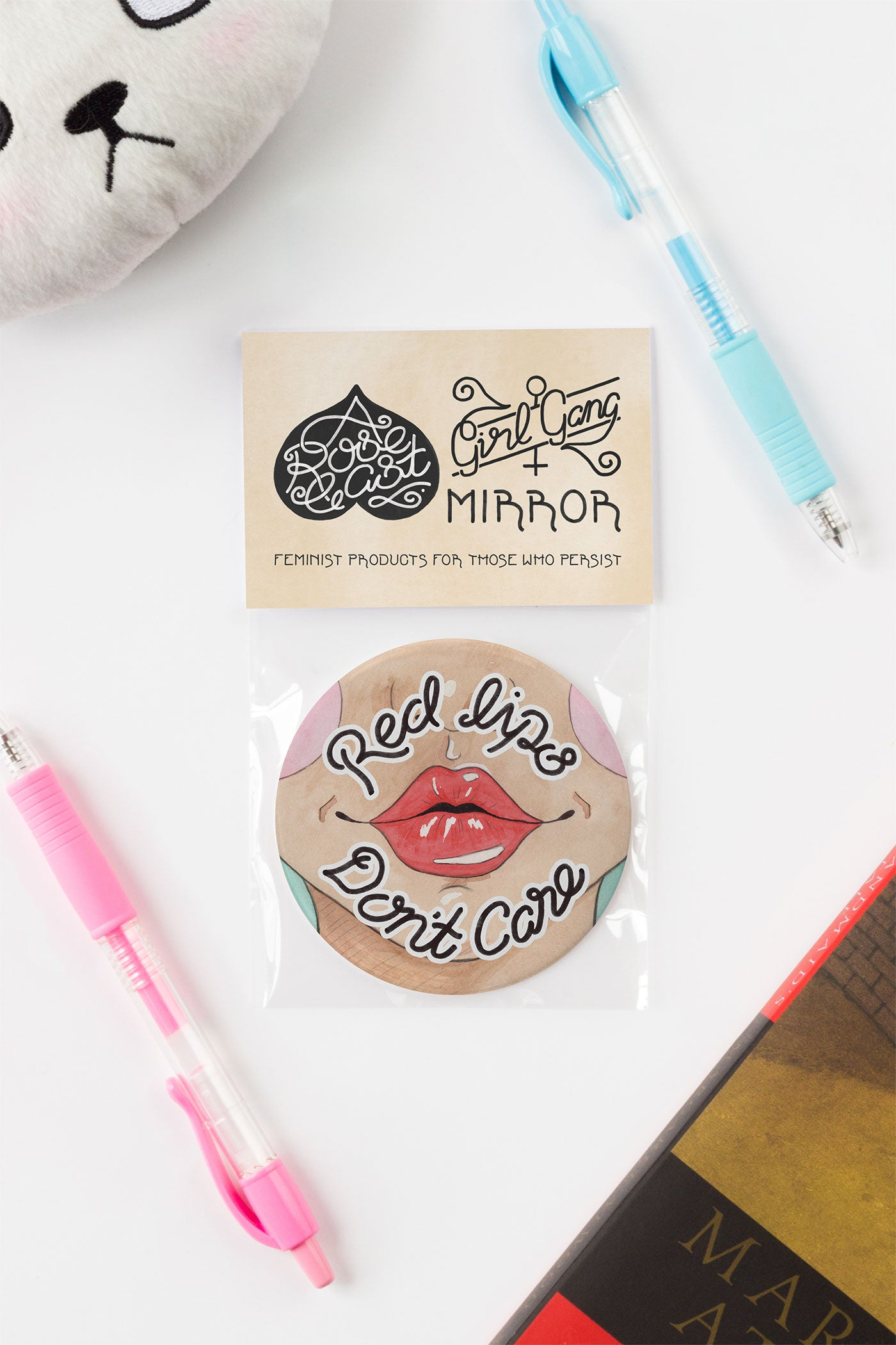 Red Lips, Don't Care Feminist Pocket Mirror - A Rose Cast