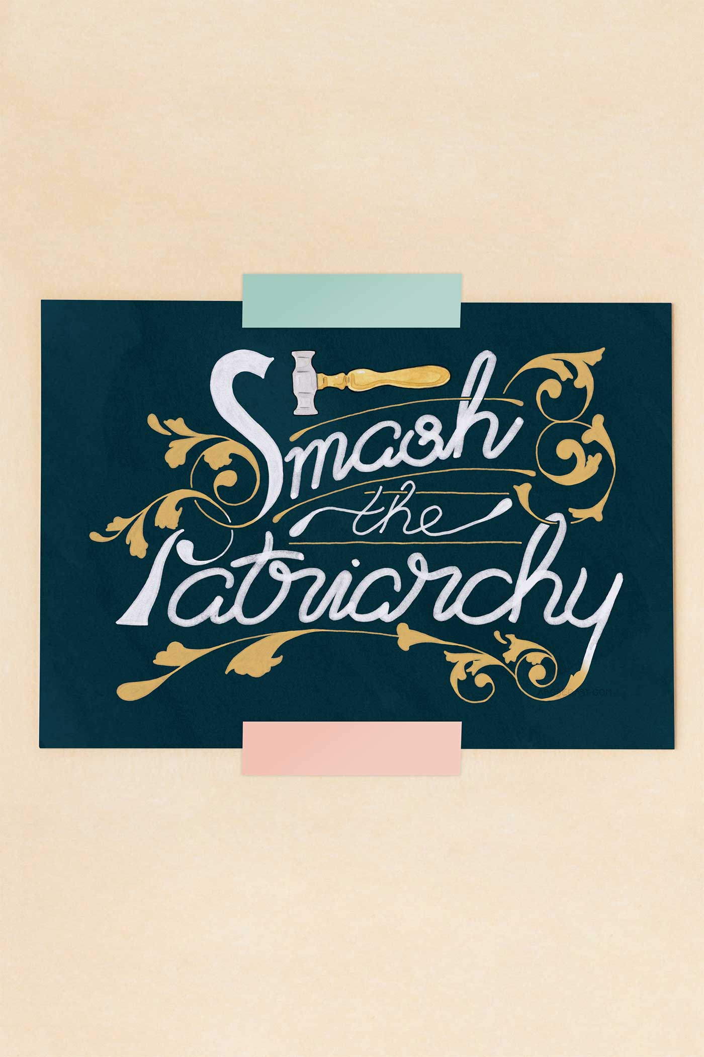 Smash the Patriarchy Feminist Illustrated Art Print