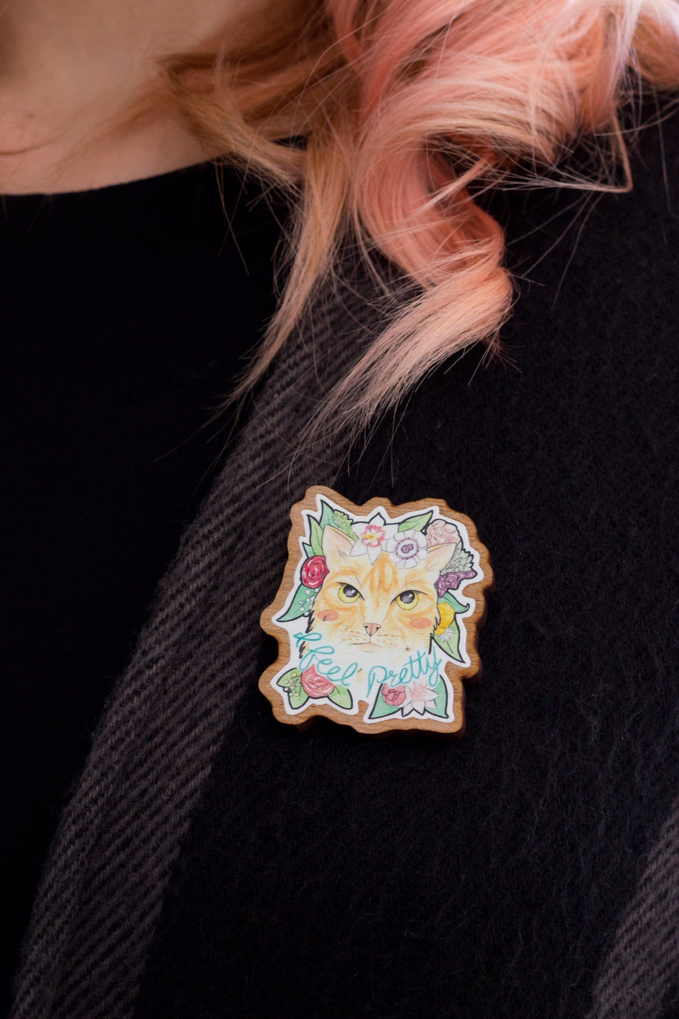 I Feel Pretty // Ginger Cat with Flowers Wooden Brooch - A Rose Cast