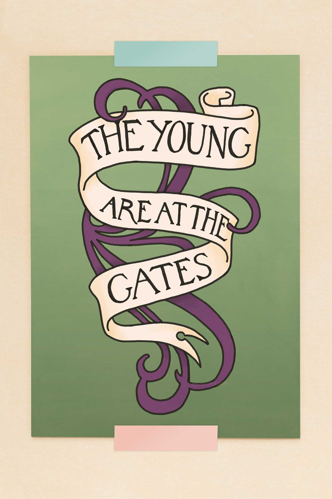 The Young are at the Gates Feminist Suffragette Quote Illustrated Art Print