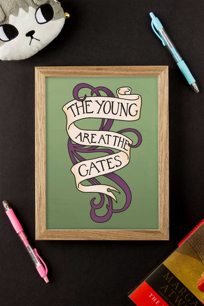 The Young are at the Gates Suffragette Quote Illustrated Art Print
