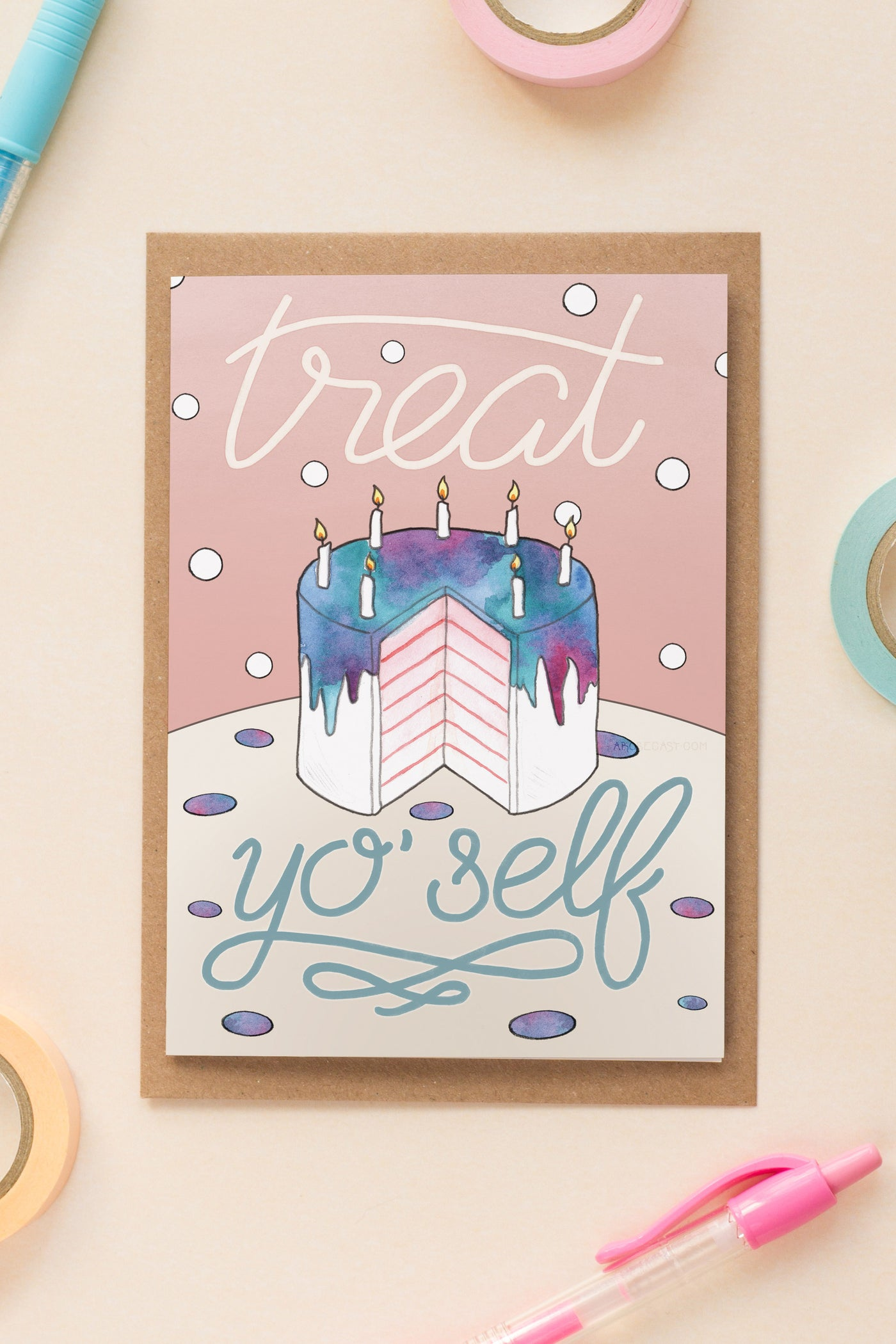 Treat Yo' Self Parks and Rec Galentine's Day / Birthday / Friendship Card - A Rose Cast