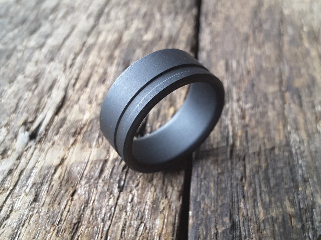 Matte black stainless steel mens wedding band