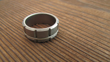 Atlas (Bright) Titanium Men's Wedding Band With Silver Inlay