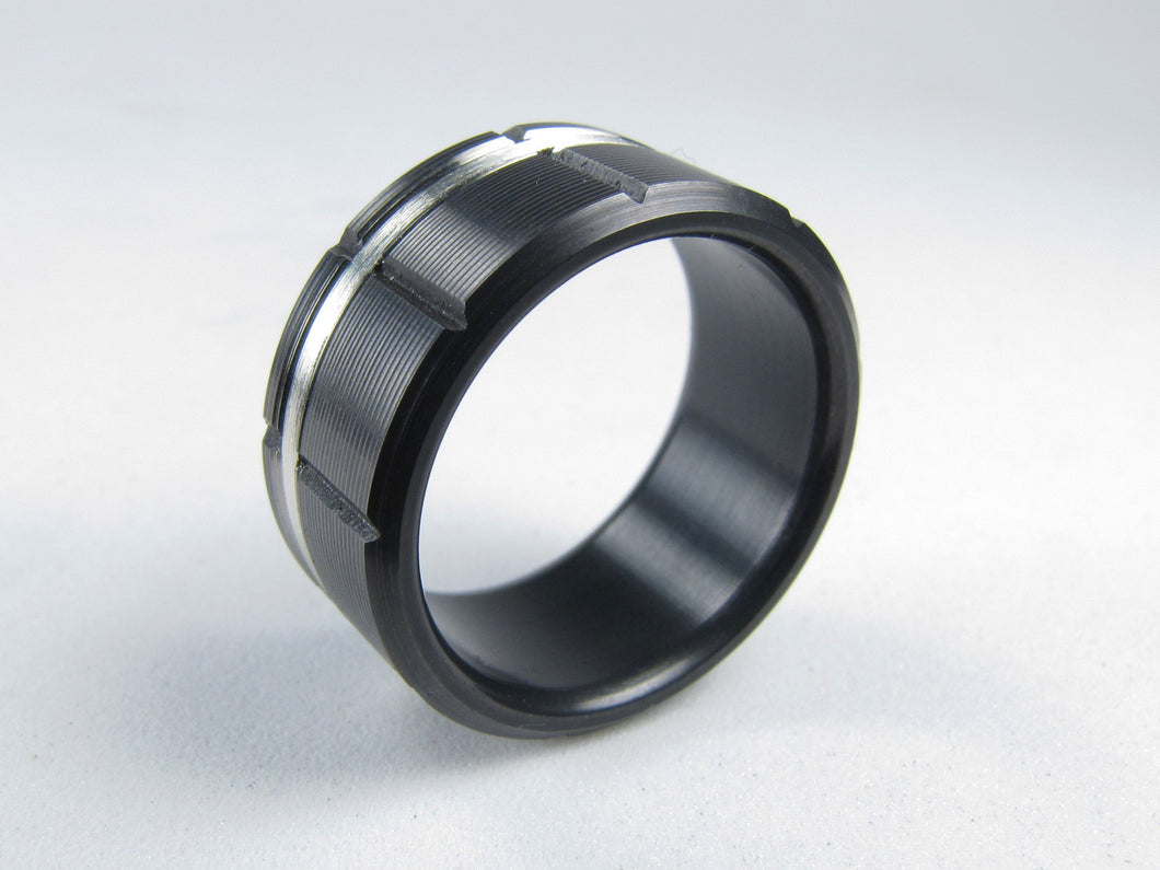 Atlas (Black) Black Titanium Men's Wedding Band With Silver Inlay
