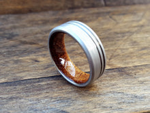 Hawaiian Koa wood and brushed titanium mens ring