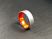 red-orange acrylic resin and titanium mens wedding band