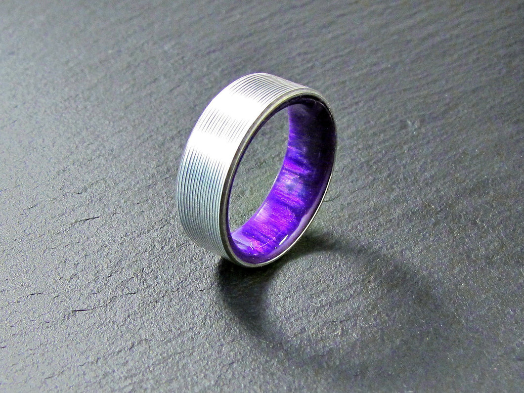 Titanium and purple resin mens ring